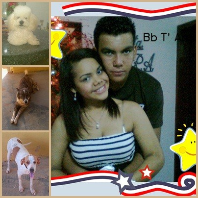 mi familia, rocky ponita Aaron mi novia y yo.